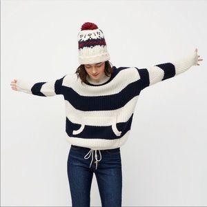 J Crew Front-Pocket Turtleneck Sweater Stripe L